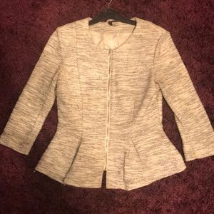 Jackets & Blazers - Grey Marl effect Woven Peplum Jacket